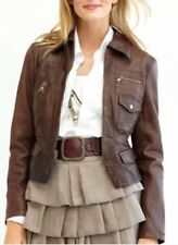 Br Banana Republic Patch Pocket Distressed Brown Lamb Leather Moto Jacket $350 S