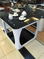 Small Curved Edge Coffee Table in White with Black Glass Side, Lamp, End Table