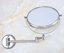 Brushed Nickel Makeup Mirrors Wall Mounted Extending Folding Double Side Mirror