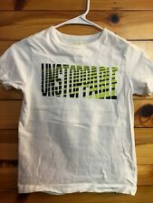 "Gymboree ""Unstoppable"" Gymgo Shirt Boys White Short Sleeve Top EUC Size S 5-6"