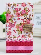 Etui portefeuille housse Samsung Galaxy S5 grandes roses décoré décoré NEUF