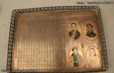 """14""""China Chinese Folk Old Bronze handwork carving Qing text dynasty leader Plate"""