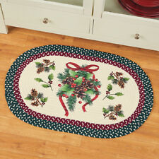 Charming Holiday Pinecone  Braided Christmas Kitchen Accent Rug