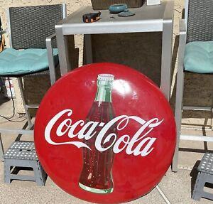 "1950's Vintage Coca Cola Porcelain 36"" Bottle Button Sign Been Touched Up"