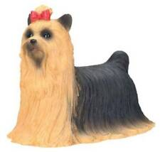 Yorkshire Terrier Dog Figurine 3 inch Statue Resin Bow Standing Up Black Brown