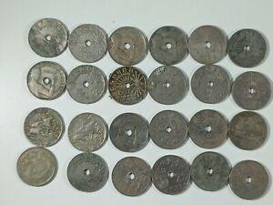 Lote 24 Monedas España 25 Céntimos 1925, 1927, 1937 y 1937 Níquel MBC