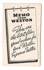 Vintage Weston Film Speed Values Weston Exposure Meter April 1938 Manual Booklet
