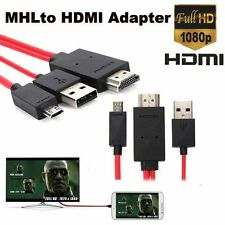 MHL Micro USB to 1080P HDMI HDTV AV TV Adapter Cable Cord For Samsung S5 Mini R