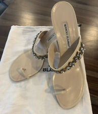 Manolo Blahnik Sz 41 Chystal Strap 3 1/2 Cream Heel Good Cond