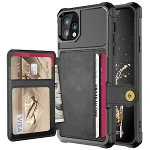 For iPhone 13 12 Pro Max / 12 Mini Car Magnetic Card Holder Leather Wallet Case