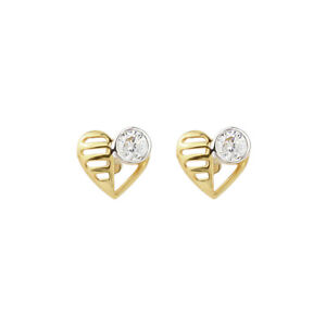 Heart Stone 18ct Real Gold Stud Earrings