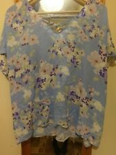 phase Eight Womens Blue Floral Top With Cape and back detail UK 18