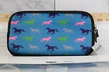Tek Trek Neoprene Zipper Bag with Galloping Horses Graphic - Teal