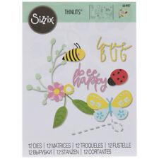 Sizzix Thinlits ~ BEE HAPPY ~ Love Bug, Butterfly, Ladybug, Bee, 12 Dies