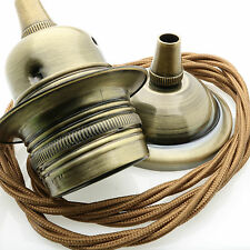 Antique Brass Finish E27 Ceiling Pendant Kit with 3Core Twisted Flex in Bronze