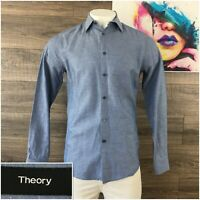 THEORY Men's Size Large L Gray Blue Linen Cotton Long Sleeve Shirt Button Front