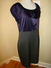THE LIMITED PURPLE SATIN GRAY FITTED CAREER WIGGLE ACCENT DRESS WOMEN SIZE 10