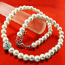Pearl Necklace Chain Real 925 Sterling Silver SF Diamond Simulated Antique Style