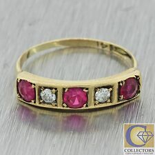 1930s Antique Victorian 14k Solid Yellow Gold .53ctw Ruby Diamond Band Ring