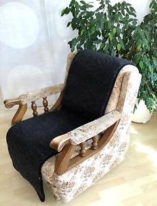 Sesselschoner Anti-Rutsch Sesselüberwurf Sitzauflage 100 % Wolle, 50 x 200 cm