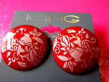 Red Flower Stud Earrings 1 1/4 Inches Round