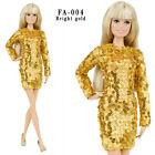 ELENPRIV FA004 Gold sequined mini dress for Barbie Pivotal MTM similar dolls