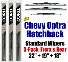 Wiper Blades 3pk Front Rear Standard fit 2005-2007 Chevrolet Optra 30221/190/180