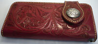 Red Indian Chief  Western Tooled Genuine Leather Mens Long Wallet Biker Cowboy