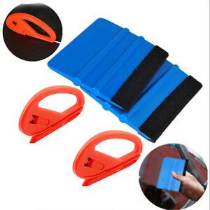 4 Pcs Car Suv Vinyl Film Sticker Wrapping Tools Kit Scraper Squeegee Felt Edge