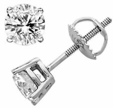 Brilliant Cut 2 Ct Diamond Earrings Solid 14K White Gold Round Stud For Girls