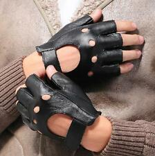Men Women Leather Gloves Half Finger Fingerless Stage Sports Cycling Driving New