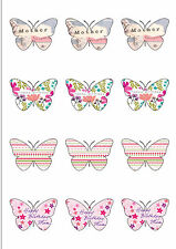 12 Happy Birthday Mum Butterfly Shaped Edible Wafer paper Cupcake Cake Toppers