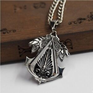 Necklace Assassins Creed Brotherhood Symbol Logo Pendant Chain Game Silver Gift