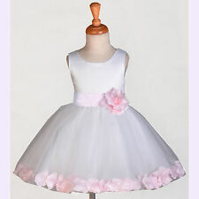 White Flower Girl Dress Wedding Bridesmaid Birthday Pageant PRINCESS ROSE PETAL