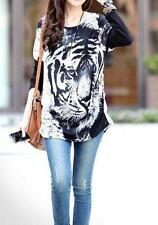 WHITE TIGER PRINT TOP SHIRT BLOUSE LONG BATWING SLEEVES LADIES ONE SIZE 10 - 14