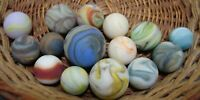 15 Marbles Beach Style Sea Glass Swirls Shooters Multicolor Sandstorm Lot #4