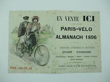 très rare petite affiche publicitaire almanach paris vélo illustrateur bac 1896