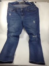 Old Navy JEANS ~ Women's SIZE 4 Skinny Blue Factory Distressed/ Ripped Pre-owned