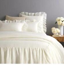 (2) New Pine Cone Hill Savannah Linen Gauze Euro Pillow Shams Ivory
