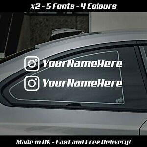 X2 INSTAGRAM YOUR NAME CUSTOM EURO WINDOW VW VINYL DECAL CAR STICKER