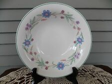 "Vintage Ava by Oneida 9 3/8"" Serving Bowl China Blue, Purple Flowers Green Band"