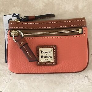 Dooney & Bourke ZR160CR Pebble Grain Small Coin Case Coral New With Tags