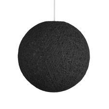 MiniSun Round Wicker Ceiling Pendant Light Shade Easy Fit Lampshade Lighting Black Medium - 30cm