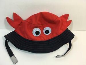 Red & Navy Blue Googly Eyes CRAB Swim Beach Bucket Sun Hat, Size 6-18 Months