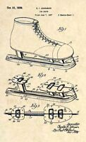Official Ice Skate Patent Art Print- Vintage Ice Hockey Skates -1939 Antique 332