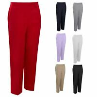 Womens Half Elasticated Trouser Stretch Waist Casual Pull On Straight Leg Plus