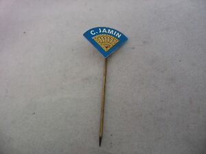 C. JAMIN Yellow Blue Vintage Foreign Mens Hat Stick Pin Advertising