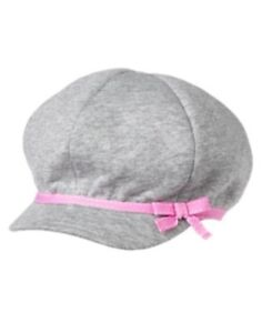 GYMBOREE COZY CRITTERS GRAY GLITTER w/ PINK BAND PAGEBOY CAP HAT 0 3 6 12 18 NWT