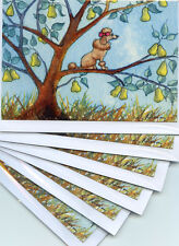 6 x Poodle dog Xmas cards Twelve Days of Christmas pear tree Susan Alison