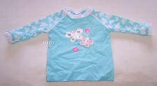 Butterflies & Flowers Girls Blue Printed Long Sleeve Rash Vest Size 00 New